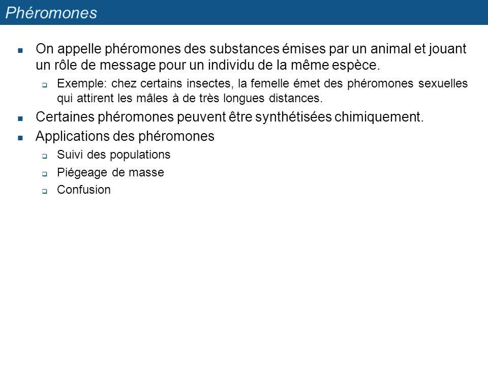 Phéromones On appelle phéromones des substances émises par un animal et jouant un rôle de message pour un individu de la même espèce.