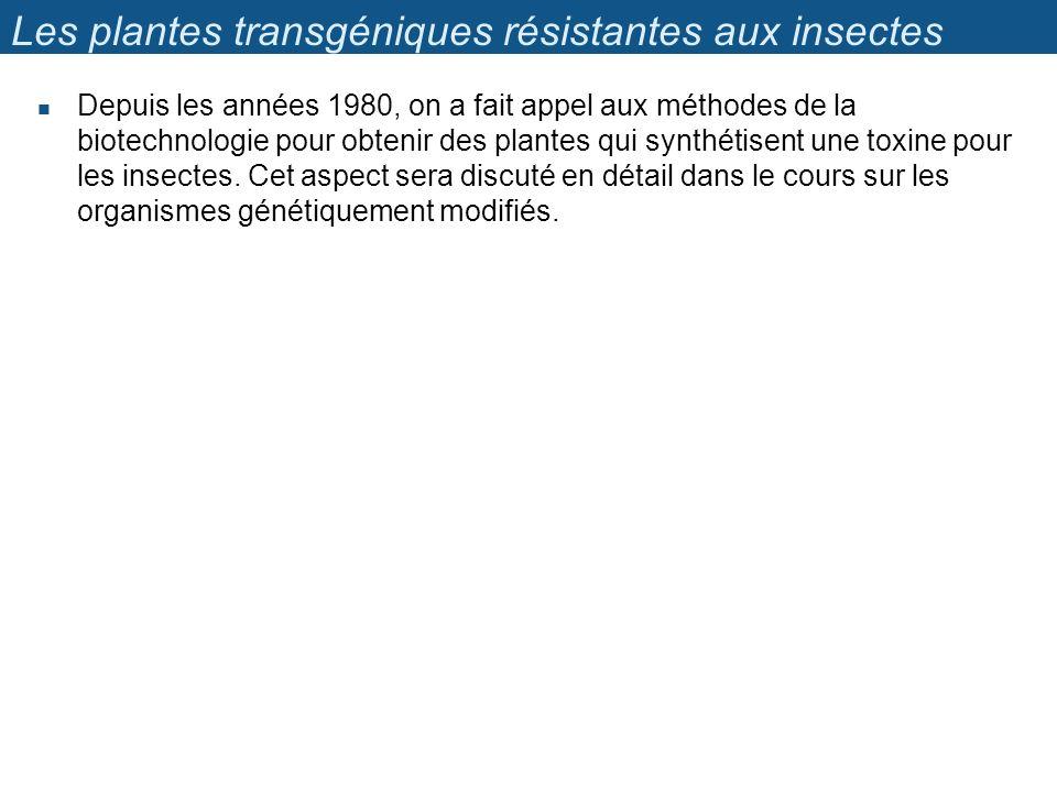 Les plantes transgéniques résistantes aux insectes