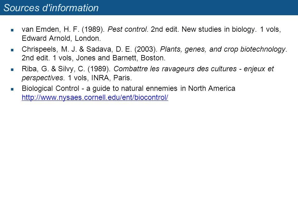 Sources d information van Emden, H. F. (1989). Pest control. 2nd edit. New studies in biology. 1 vols, Edward Arnold, London.
