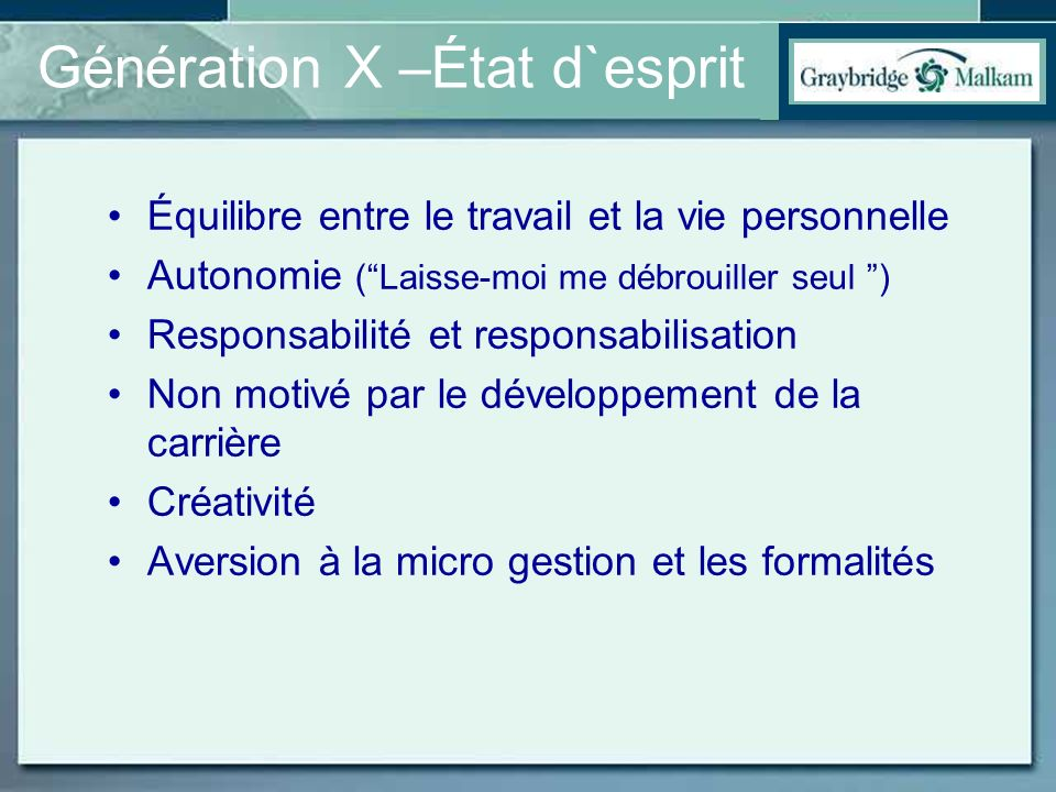 Génération X –État d`esprit