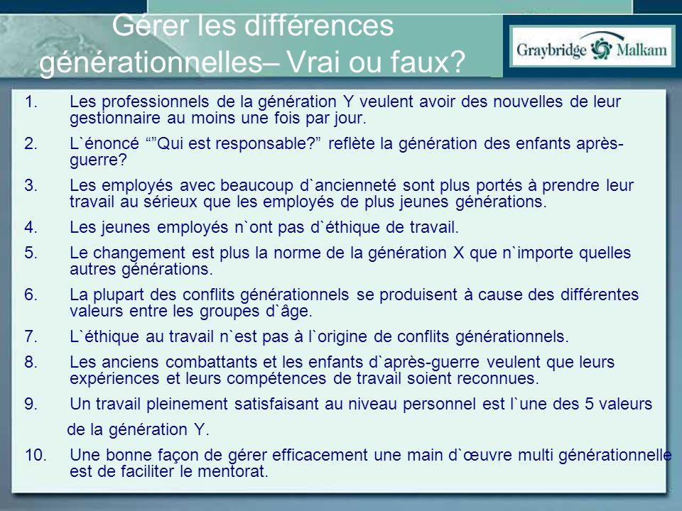 Gérer les différences générationnelles– Vrai ou faux