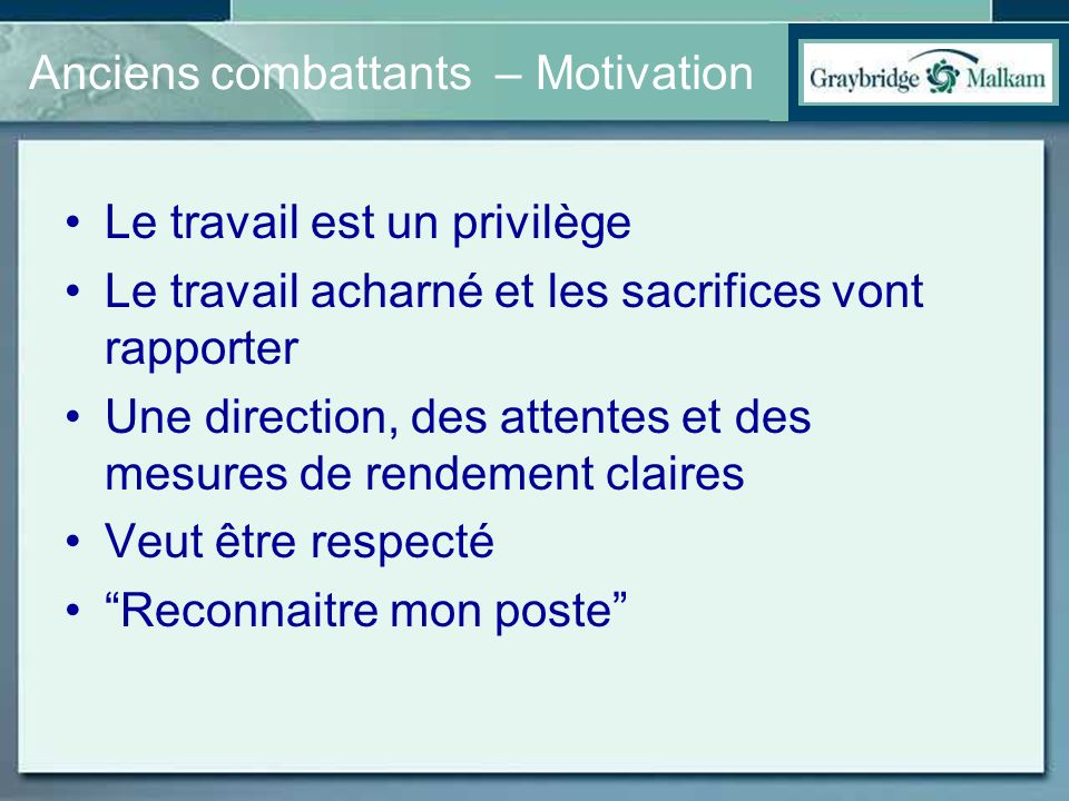 Anciens combattants – Motivation
