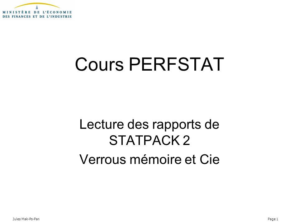 Lecture des rapports de STATPACK 2 Verrous mémoire et Cie