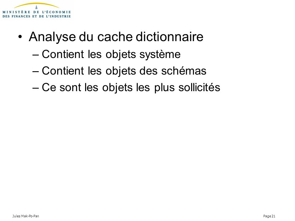 Analyse du cache dictionnaire