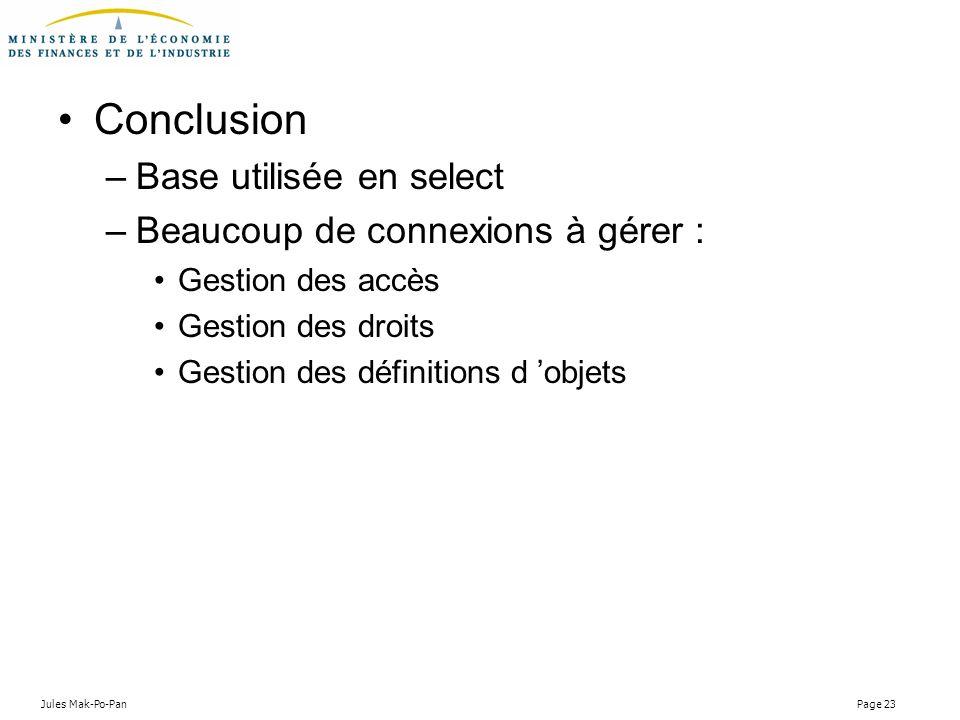 Conclusion Base utilisée en select Beaucoup de connexions à gérer :