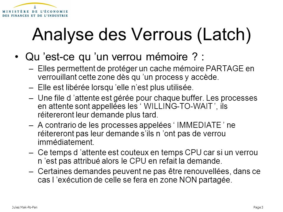Analyse des Verrous (Latch)