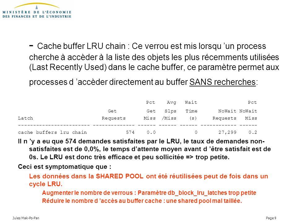 - Cache buffer LRU chain : Ce verrou est mis lorsqu 'un process cherche à accèder à la liste des objets les plus récemments utilisées (Last Recently Used) dans le cache buffer, ce paramètre permet aux processes d 'accèder directement au buffer SANS recherches: