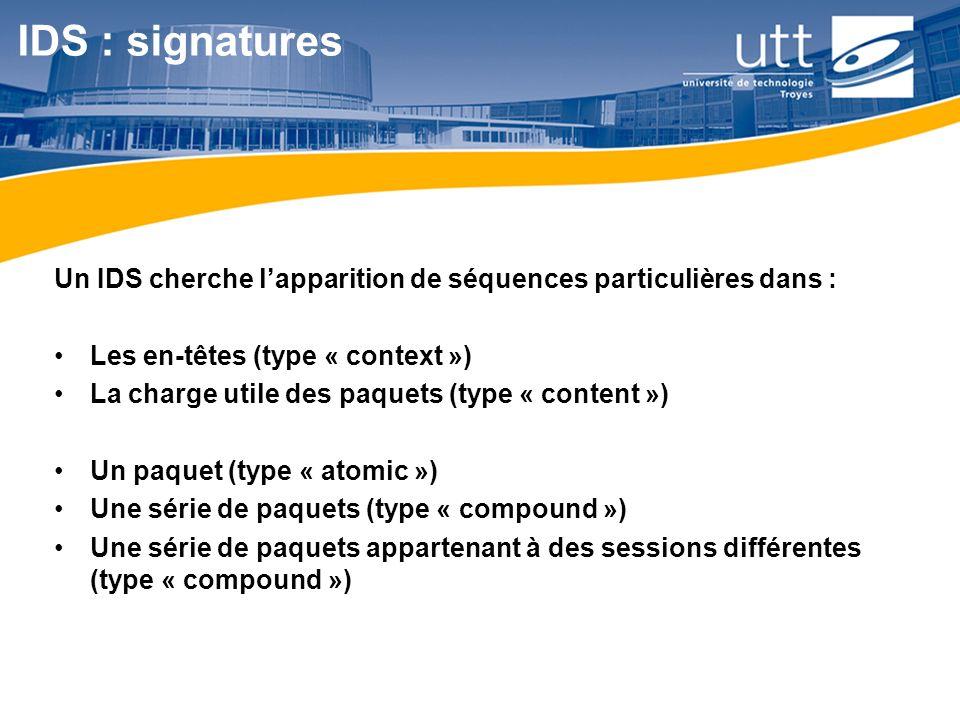 IDS : signatures Un IDS cherche l'apparition de séquences particulières dans : Les en-têtes (type « context »)