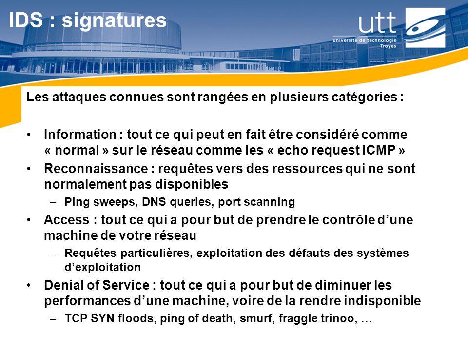 IDS : signatures Les attaques connues sont rangées en plusieurs catégories :