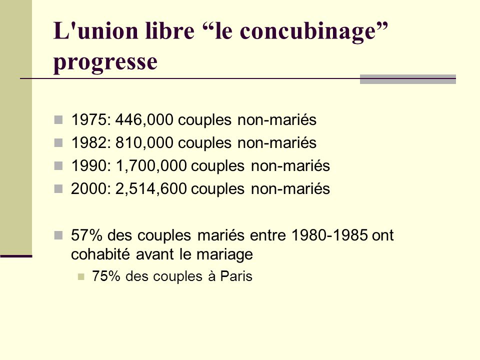 L union libre le concubinage progresse