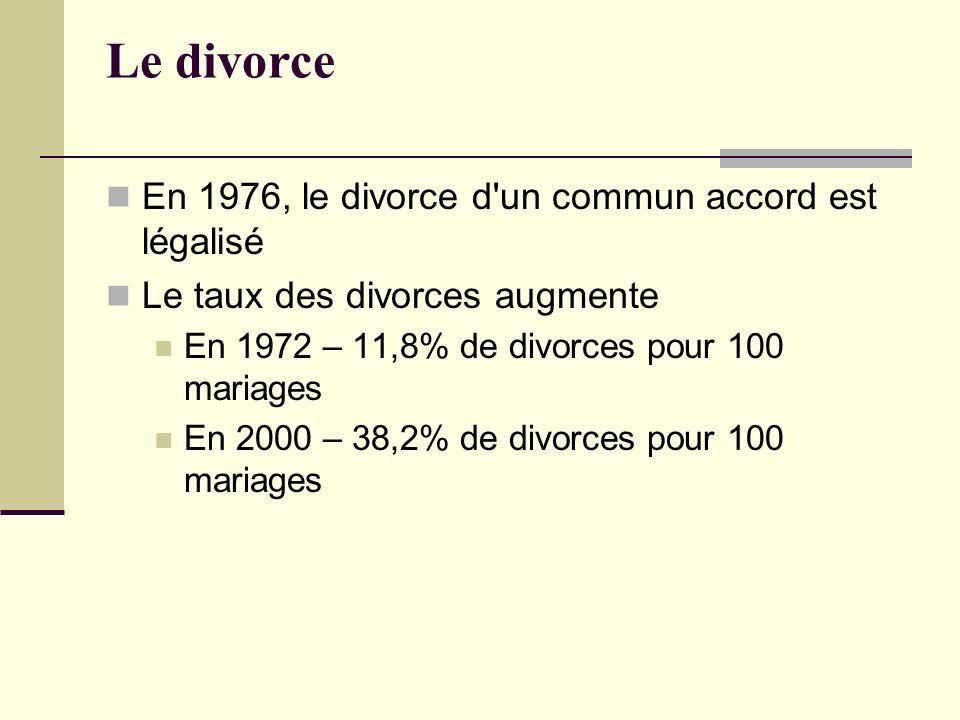 Le divorce En 1976, le divorce d un commun accord est légalisé