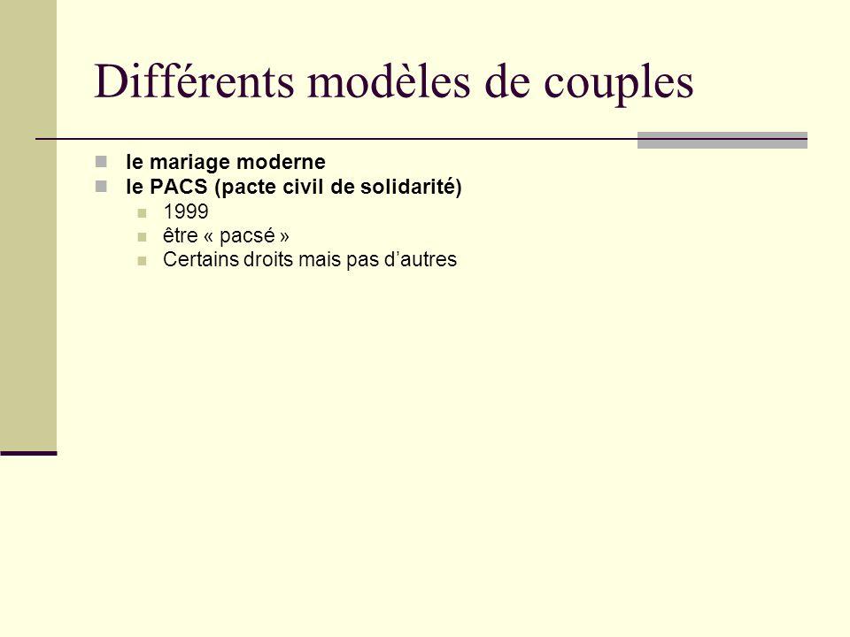 Différents modèles de couples