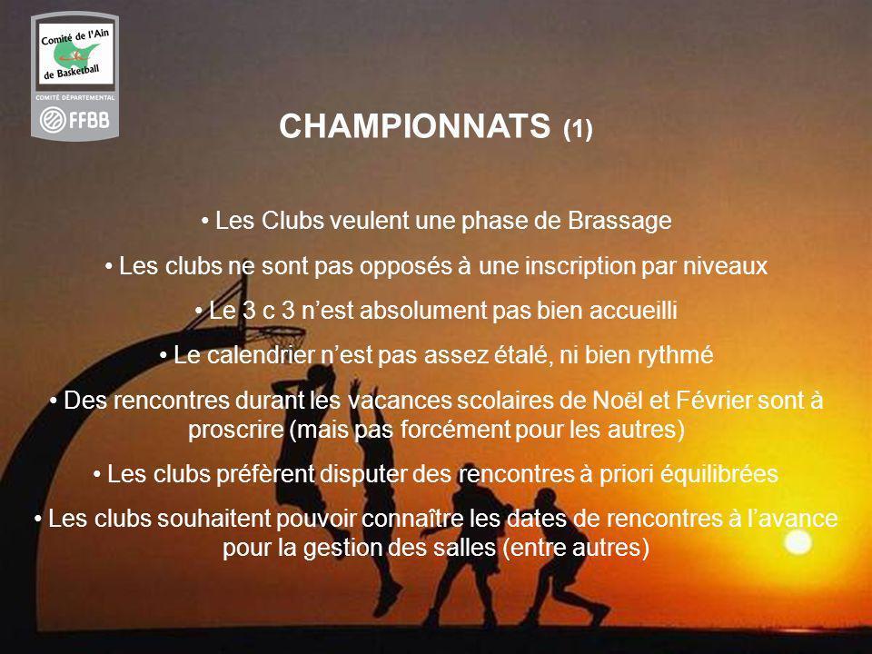 CHAMPIONNATS (1) Les Clubs veulent une phase de Brassage