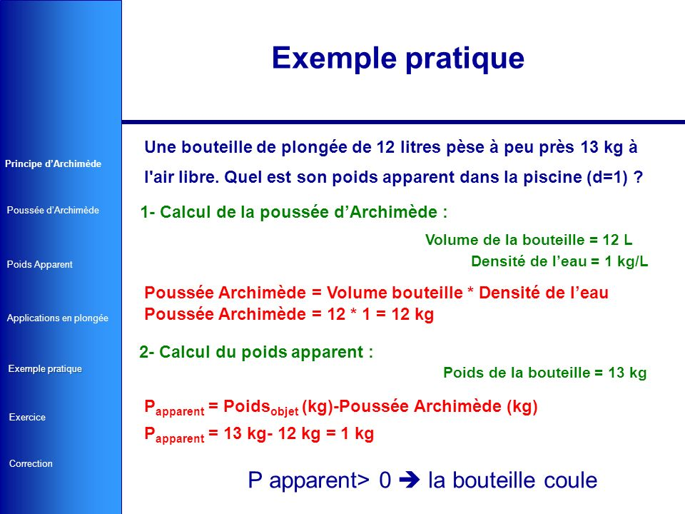 Exemple pratique P apparent> 0  la bouteille coule