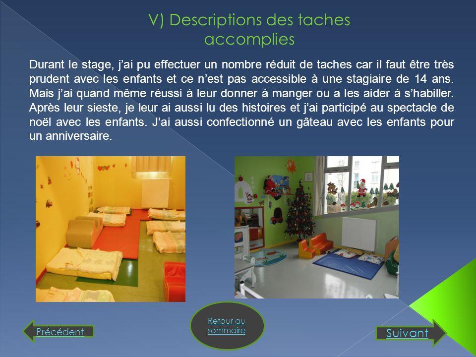 V) Descriptions des taches accomplies