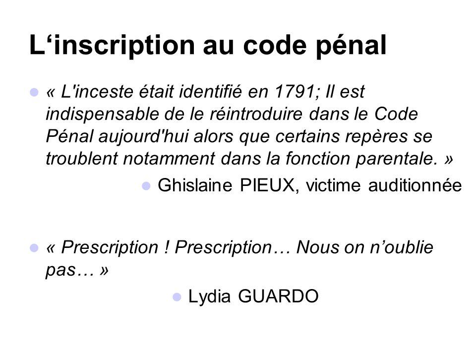 L'inscription au code pénal