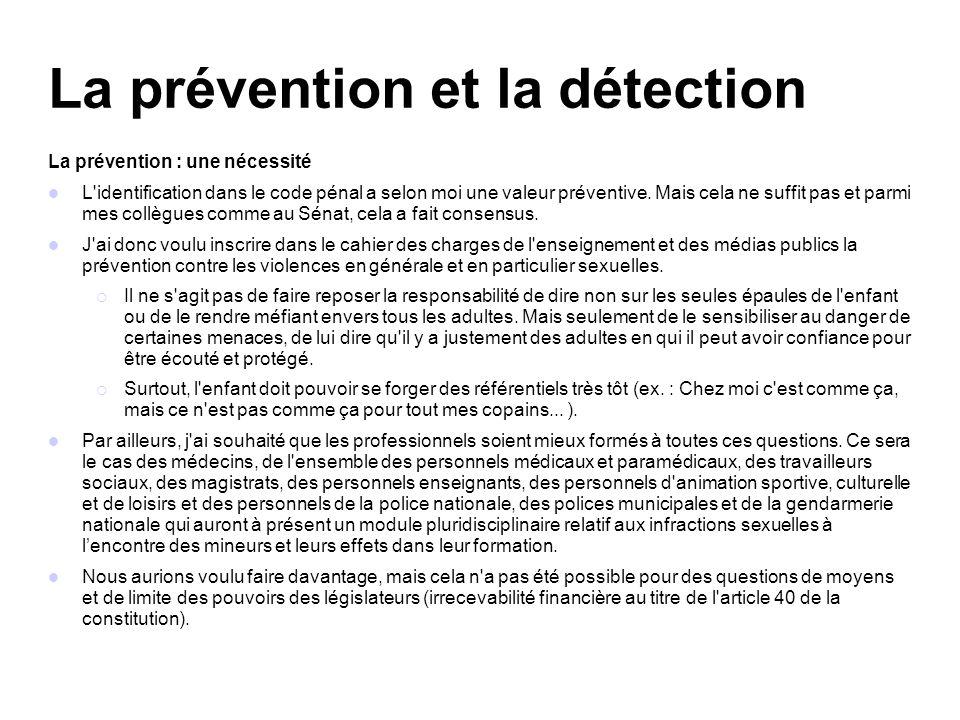 La prévention et la détection