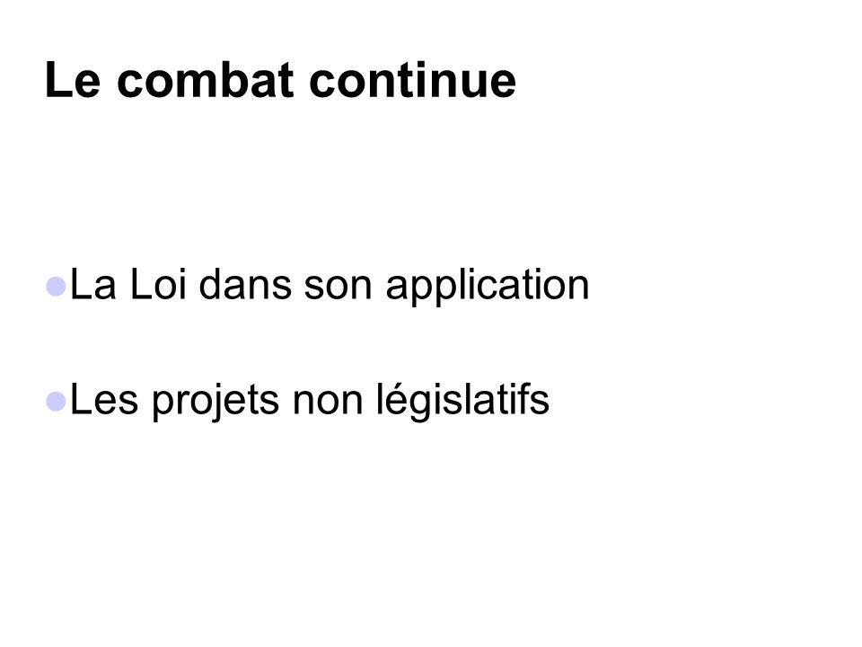 La Loi dans son application Les projets non législatifs