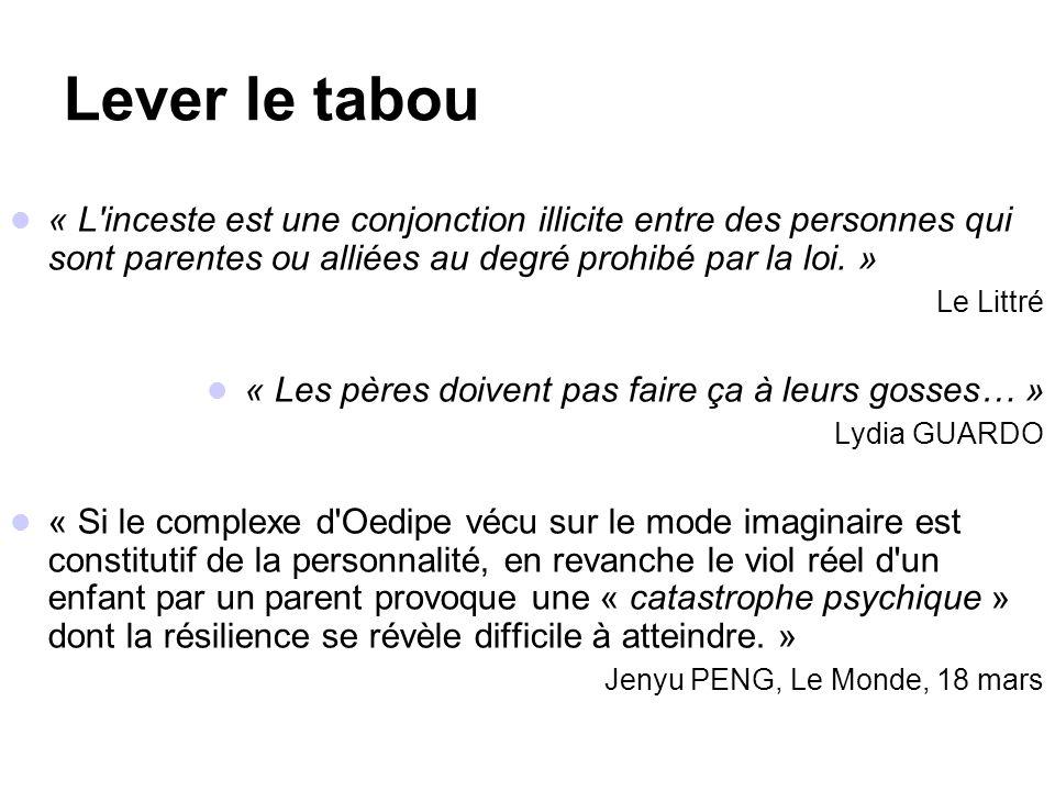 Lever le tabou « L inceste est une conjonction illicite entre des personnes qui sont parentes ou alliées au degré prohibé par la loi. »