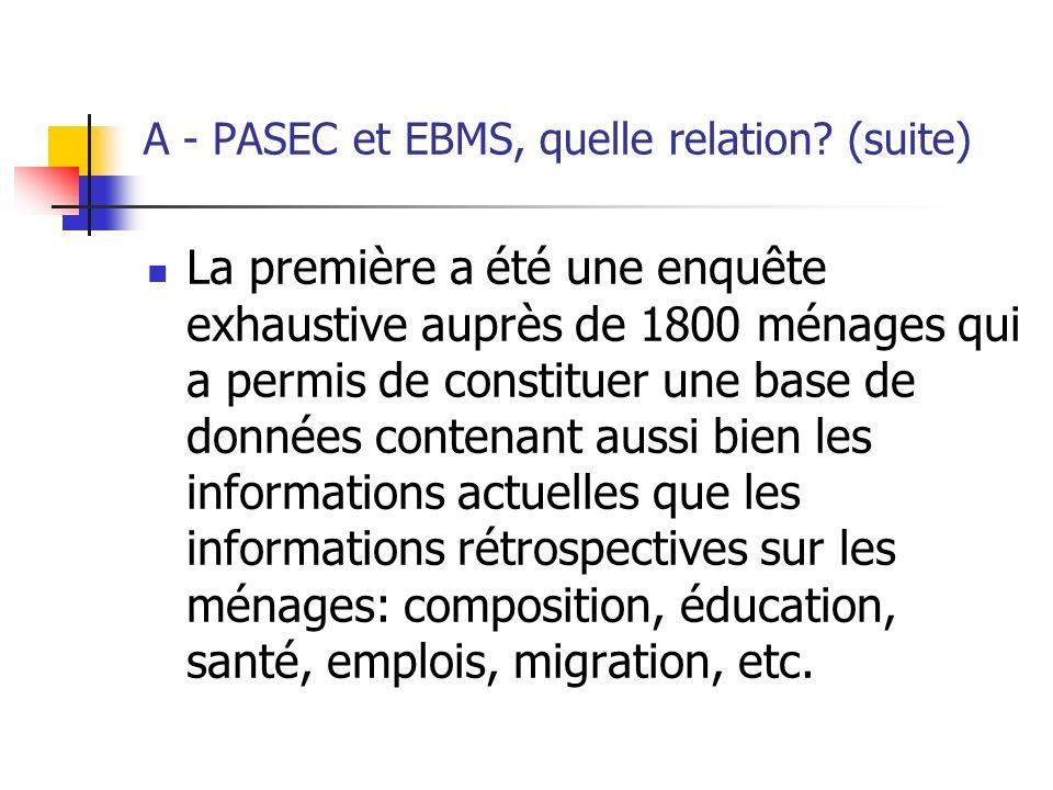 A - PASEC et EBMS, quelle relation (suite)