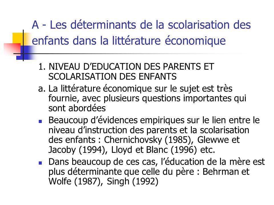 A - Les déterminants de la scolarisation des enfants dans la littérature économique