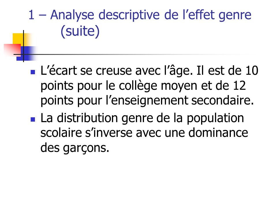 1 – Analyse descriptive de l'effet genre (suite)