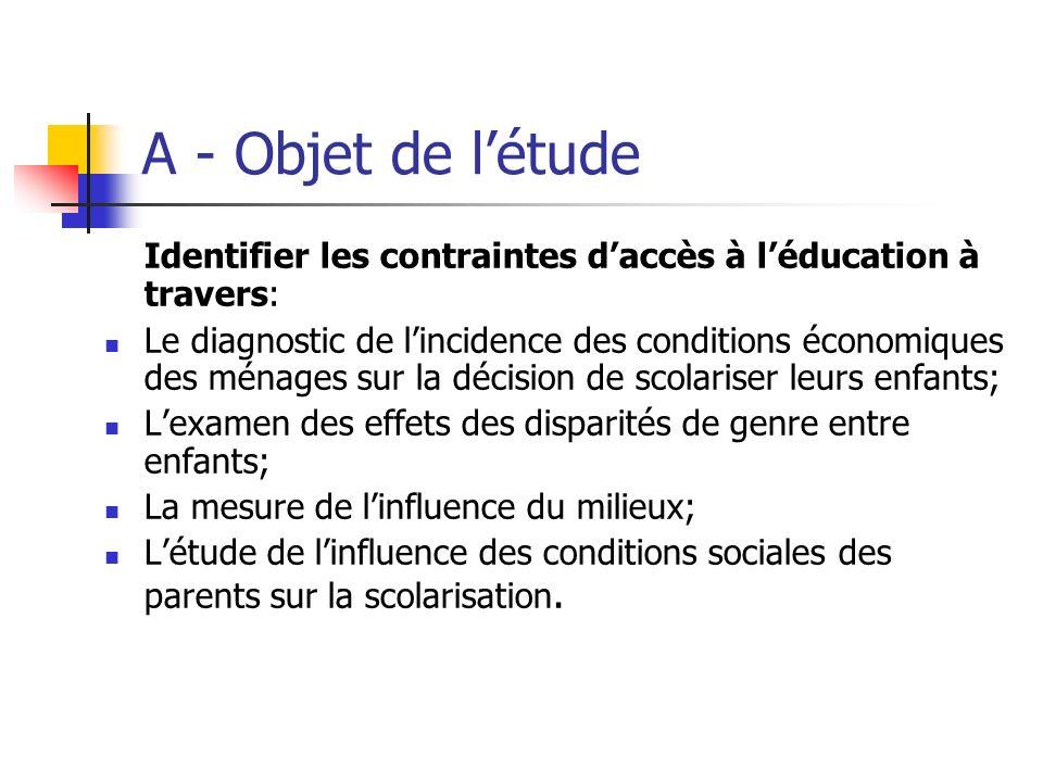 A - Objet de l'étude Identifier les contraintes d'accès à l'éducation à travers:
