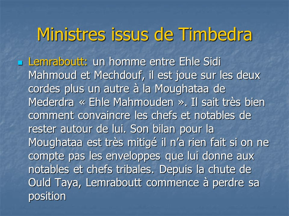 Ministres issus de Timbedra