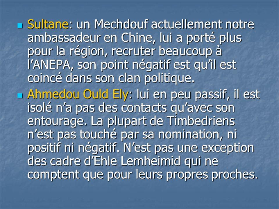 Sultane: un Mechdouf actuellement notre ambassadeur en Chine, lui a porté plus pour la région, recruter beaucoup à l'ANEPA, son point négatif est qu'il est coincé dans son clan politique.