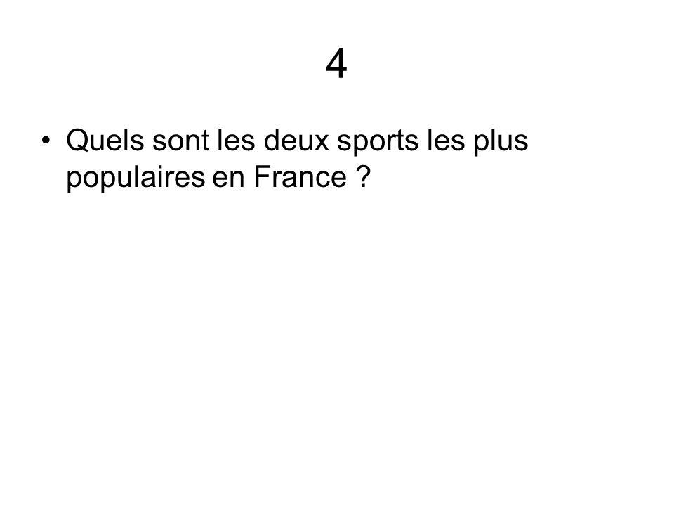 4 Quels sont les deux sports les plus populaires en France