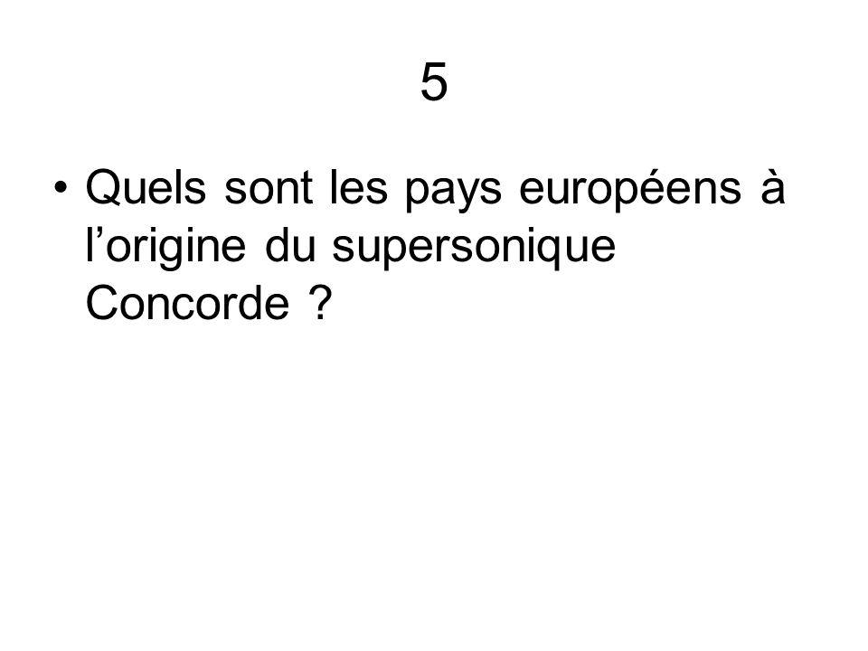 5 Quels sont les pays européens à l'origine du supersonique Concorde