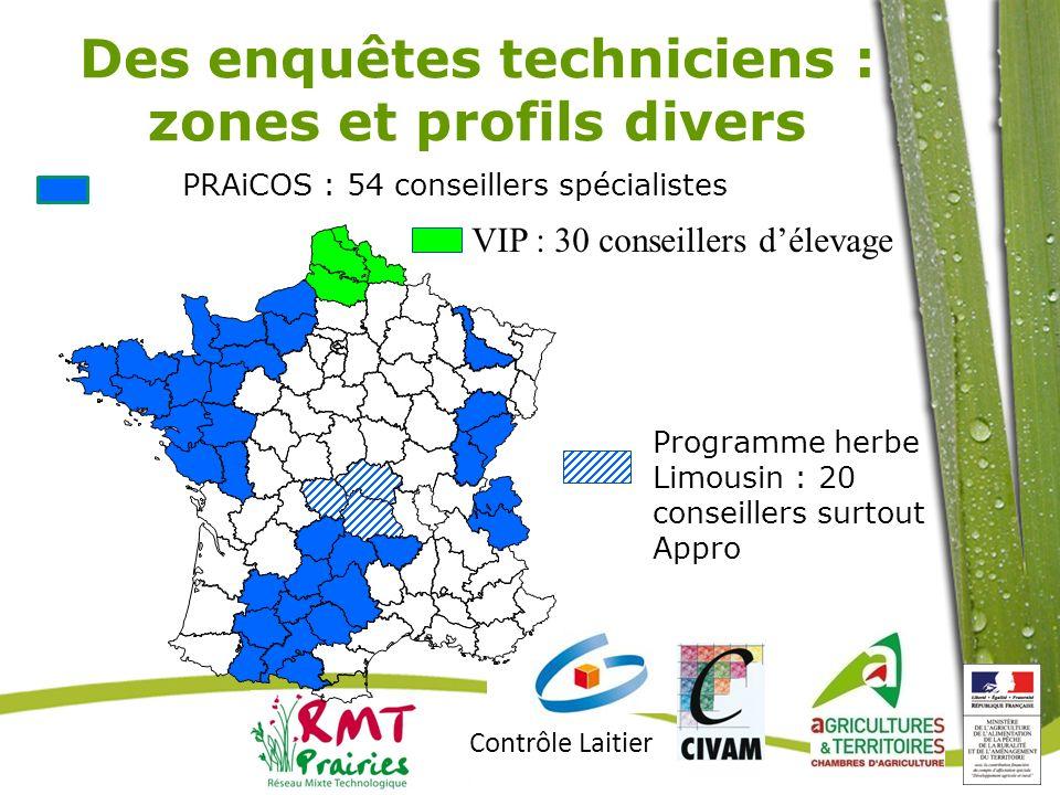 Des enquêtes techniciens : zones et profils divers