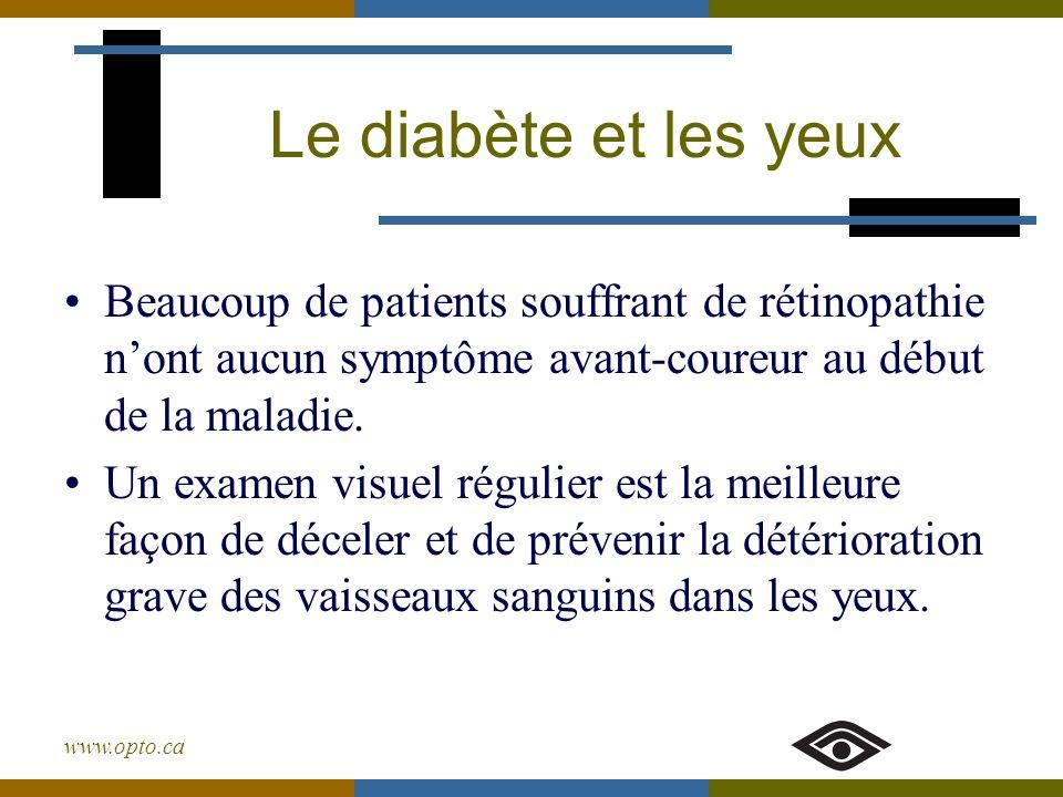 Le diabète et les yeux Beaucoup de patients souffrant de rétinopathie n'ont aucun symptôme avant-coureur au début de la maladie.