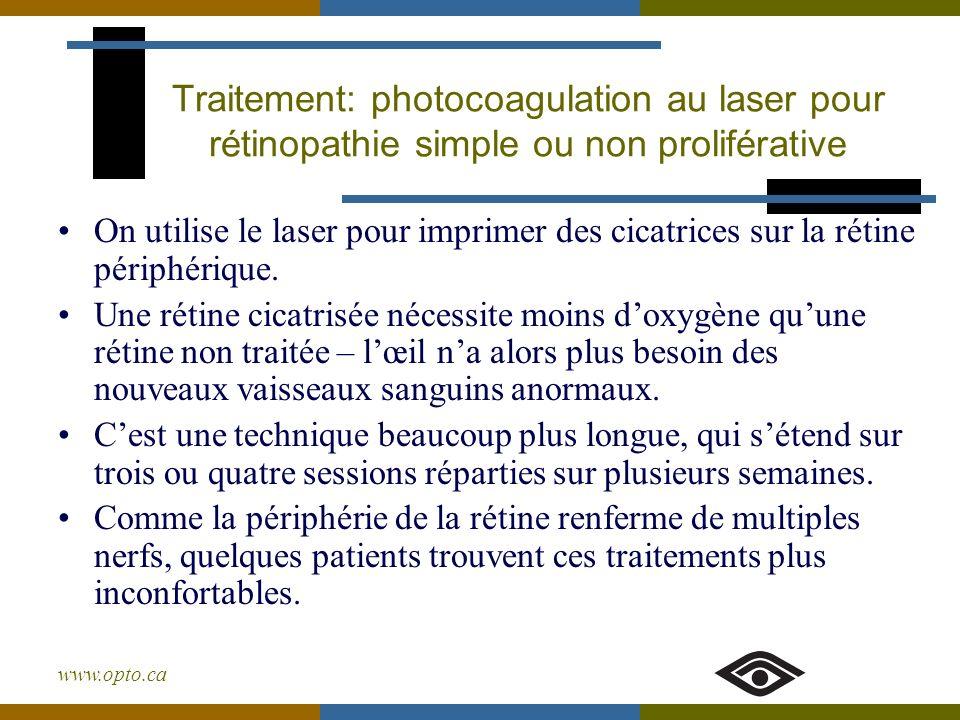 Traitement: photocoagulation au laser pour rétinopathie simple ou non proliférative