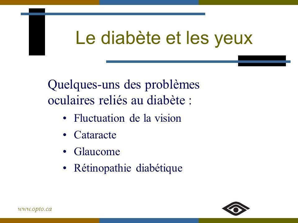 Le diabète et les yeux Quelques-uns des problèmes oculaires reliés au diabète : Fluctuation de la vision.