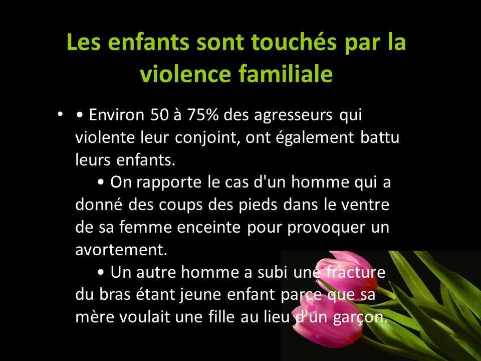 Les enfants sont touchés par la violence familiale