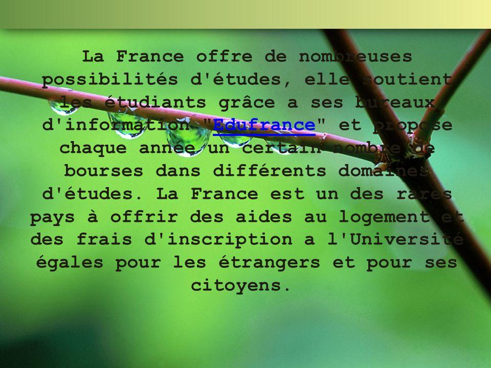 La France offre de nombreuses possibilités d études, elle soutient les étudiants grâce а ses bureaux d information Edufrance et propose chaque année un certain nombre de bourses dans différents domaines d études.