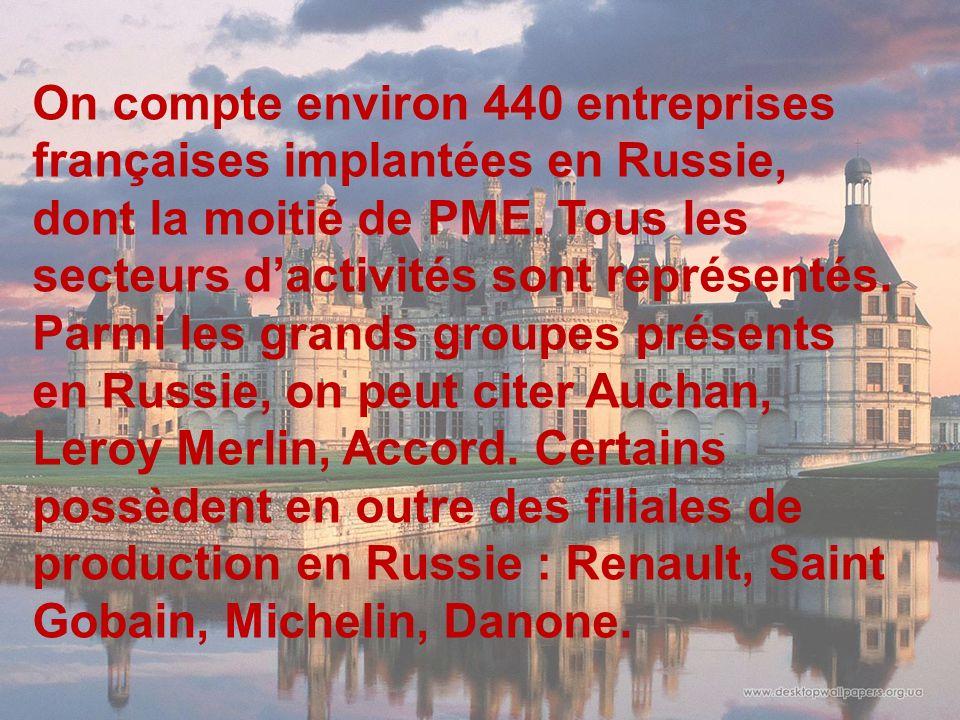 On compte environ 440 entreprises françaises implantées en Russie, dont la moitié de PME.