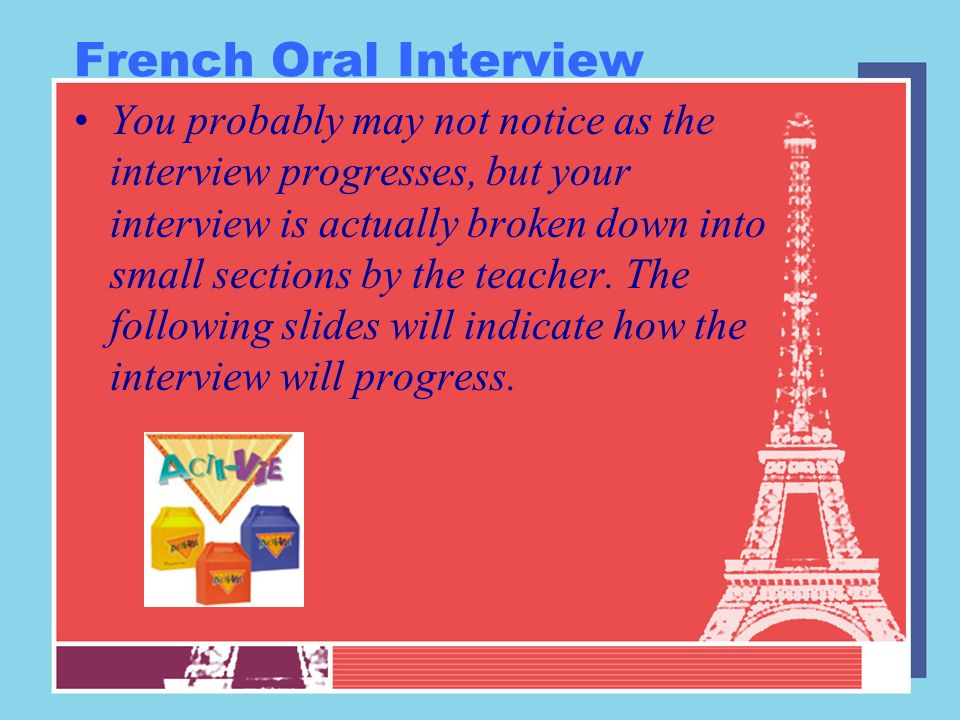 French Oral Interview