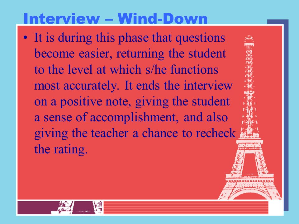 Interview – Wind-Down