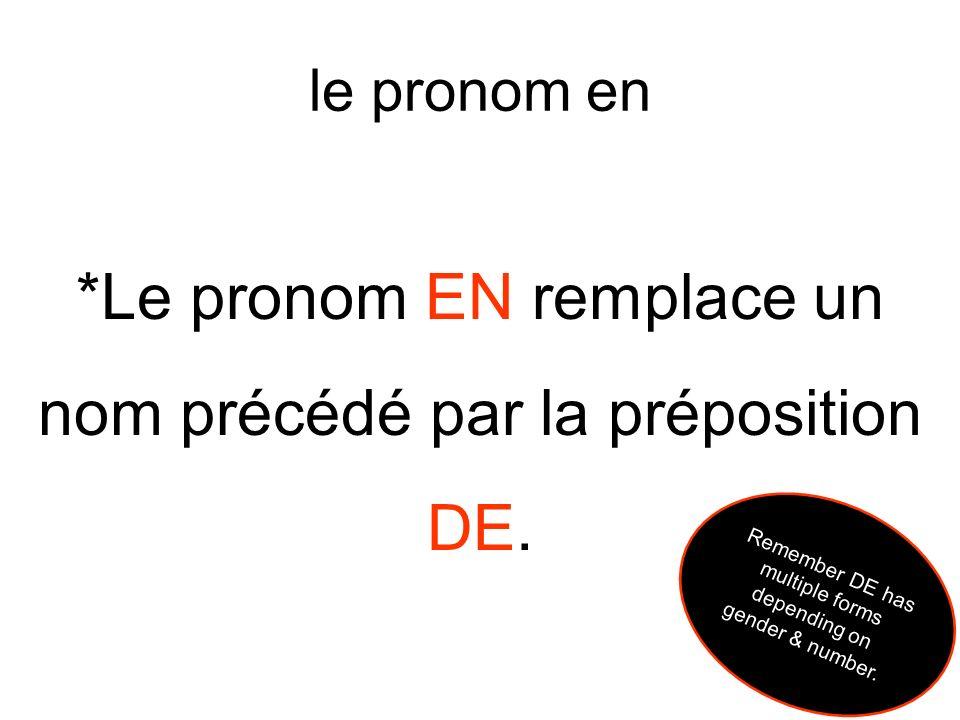 *Le pronom EN remplace un nom précédé par la préposition DE.
