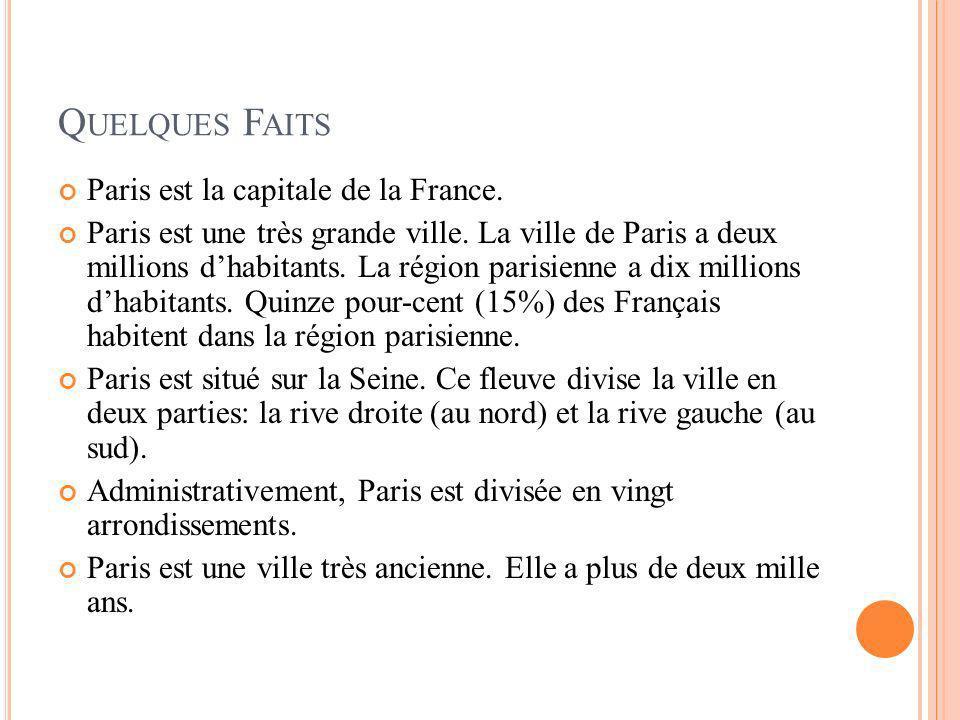 Quelques Faits Paris est la capitale de la France.