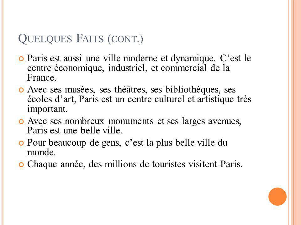 Quelques Faits (cont.) Paris est aussi une ville moderne et dynamique. C'est le centre économique, industriel, et commercial de la France.