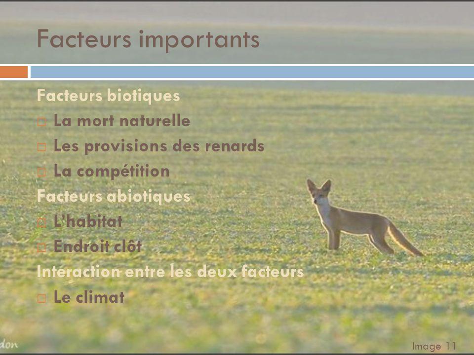 Facteurs importants Facteurs biotiques La mort naturelle