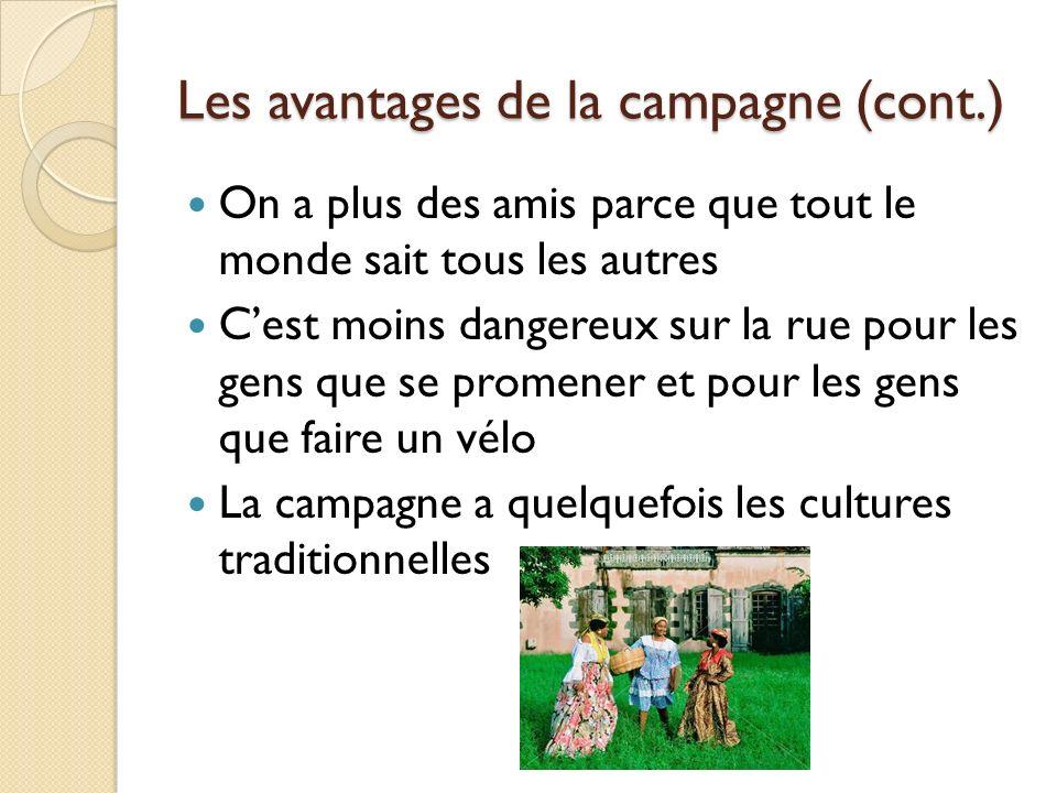 Les avantages de la campagne (cont.)
