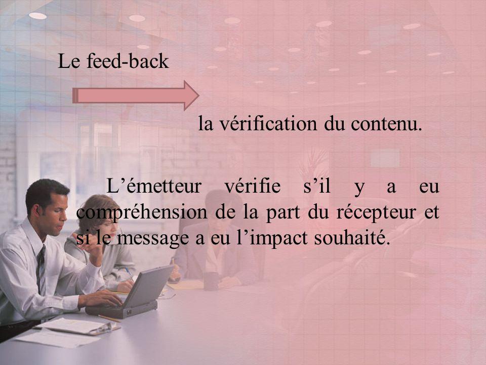 Le feed-back la vérification du contenu