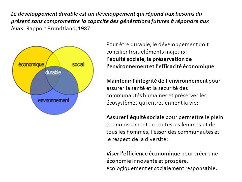 Le développement durable est un développement qui répond aux besoins du présent sans compromettre la capacité des générations futures à répondre aux leurs. Rapport Brundtland, 1987