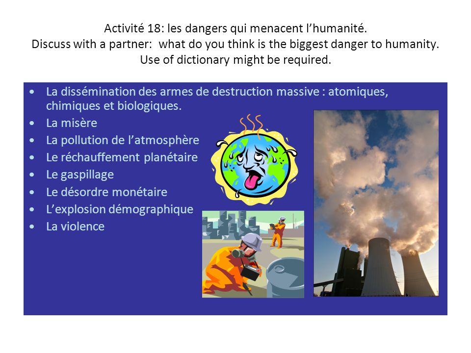 Activité 18: les dangers qui menacent l'humanité