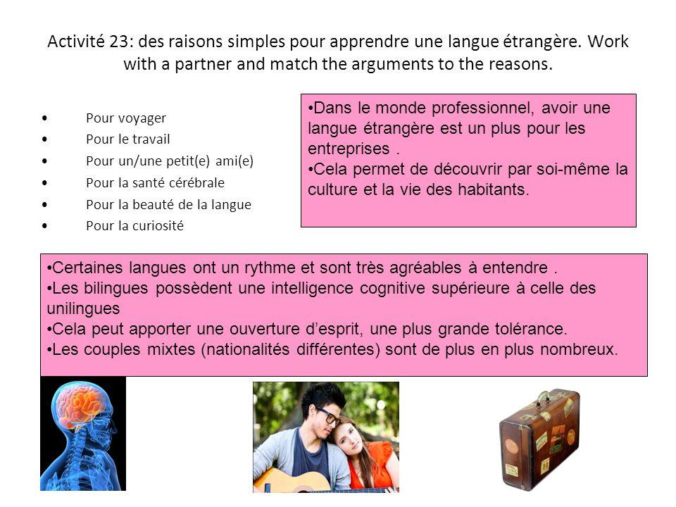 Activité 23: des raisons simples pour apprendre une langue étrangère
