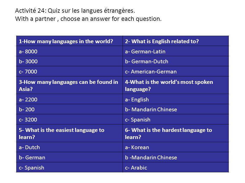 Activité 24: Quiz sur les langues étrangères.